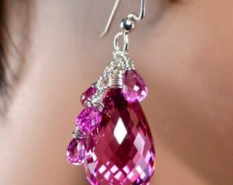 LP 1340 Hot Pink Lab Topaz Briolette And Quartz Earrings