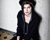 Elegant Outerwear Black Wool Tailored Jacket Boxy Urban unisex jacket with red lining, winter jacket