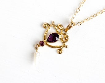 Sale - Antique 10k Yellow Gold Simulated Amethyst & Seed Pearl Art Nouveau Necklace - Vintage Lavalier Edwardian Fine Pendant 1900s Jewelry