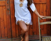 Winter Trend White with brown bronze Embroidery Moroccan Tunic Khalia- birthday gifts, holiday wear, casual wear, beach wedding, gifts