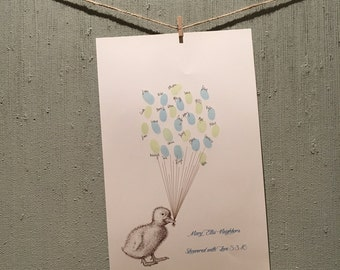 Duck Thumbprint Balloon Print - Baby Shower or Birthday Party Guestbook