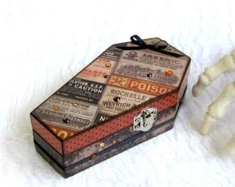 Coffin Box Vintage Style Ads Poison Labels Coffin Ring Box Halloween Decor Decoupaged Coffin Trinket Jewelry Box Goth Brown Black Orange