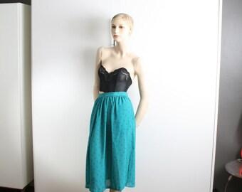triangle geometric semi sheer teal high waist midi skirt vintage 1980s