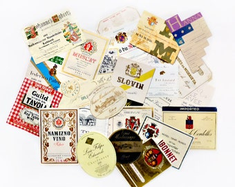 24 Assorted Wine Labels, Authentic