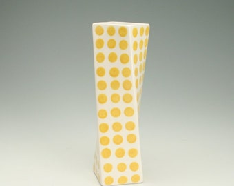 Yellow and White Ceramic Flower Vase, Sunflower Yellow Polka Dots, Tall Modern Pottery Vase, Polka Dot Twisted Vase, Office Desk Accessories