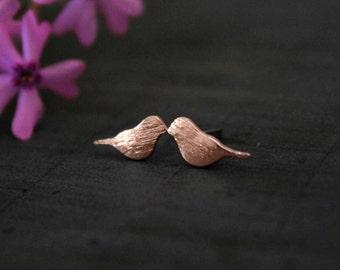 Rose Gold Bird Earrings