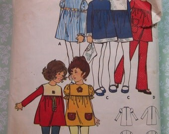 Childs Loose-fitting Mini Dress with Jewel Neckline, Pants and Hat Size 4 Breast 23 Vintage Butterick Pattern 6032 Cut/Complete