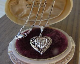 Early Vintage Sterling Heart Pendant Sparkling Sterling Silver Diamond Etched 925 Sterling Pendant/Chain