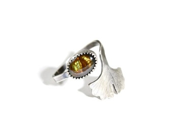 Fire Agate Ginkgo Leaf Ring- Adjustable Gemstone Ring in Sterling Silver- Botanical Jewelry- Fire Agate Ring Sizes 6-8