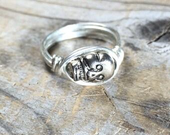 size 7.75 , 7 3/4 silver Skull wire wrapped ring - handmade jewelry - goth punk men women unisex teen girl boy  - my soul can dance