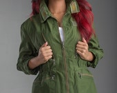 1960's Authentic MILITARY STLYLE VINTAGE Women's Ladies Swedish Army Combat Tanker Jacket