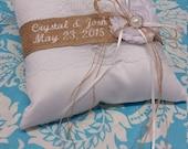 Rustic Ring pillow, Burlap Wedding Ring bearer pillow, rustic pillow burlap and lace wedding ring pillow, name pillow, personalized pillow