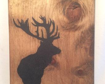 Wooden elk sillouette wall hanging art decor