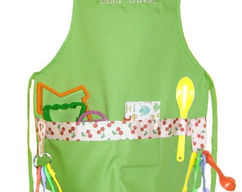 Personalized Lime with Cherries Ribbon Child's Cooking Apron Boy or Girl