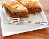 Hey, Sugar Custom Demitasse Pastry Fork. Hand Stamped Cupcake Fork. Petite Vintage Dessert Fork. Valentine Gift Idea for Baker. Sweets.