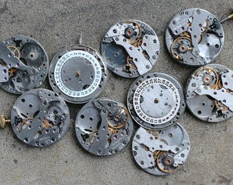 Vintage Watch Movements -- identical -- set of 9 -- D6