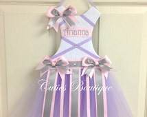 Lavender Pink Grey Tutu Dress Hair Bow Holder---Personalized Perfect Gift For Birthday Baby Shower It's a Girl