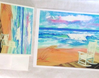 Beach watercolor GIFT SET, ocean and rocking chair greeting card with 8x10 GICLEE print, vacation souvenir gift under 20 dollars