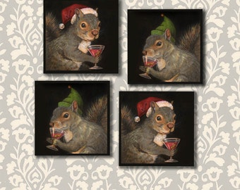 Santa Squirrel Coaster,- Christmas Coaster Set, Christmas Squirrel Coasters, Elf Squirrel Coasters, Stocking Stuffer, Office Gift