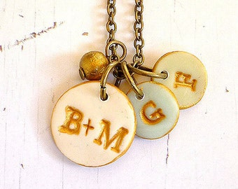 Valentine's Gift - Couple and kids initials necklace - Dainty Letter necklace - Personalized letter jewelry