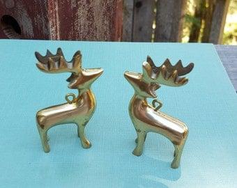 Brass Deer Ornaments - Small Mini Figurines - Christmas Decor - Oak Hill Vintage