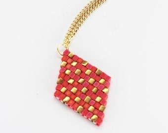 Pink Pixel Pattern Diamond Necklace - in stock!