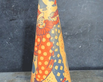 Vintage Halloween Horn Noisemaker with Clowns & Masquerade Girl, Party Decor, Treat or Treat, Cardboard, Metal Mouthpiece