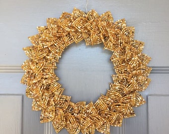 Gold Blend French Beaded Decorative Wreath (X-Small)