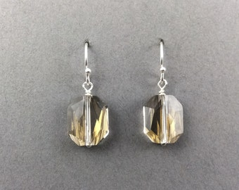 Crystal Earrings In Sterling Silver With Crystal Silver Swarovski Crystal Beads