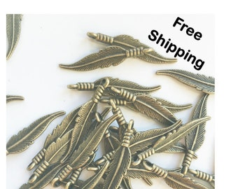 Set of 20 - Bronze Feather Charms