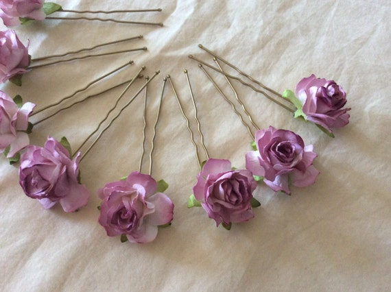 Mauve Rose Hairpins x 8. Wedding,Bridal, Regency, Victorian