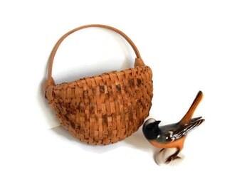 Miniature Oak Splint Basket, Early American Rib Style Half Basket, Handmade Country Farmhouse Collectibles
