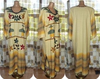 Vintage 70s Caftan | 1970s Blanket Caftan Dress | Guatemalan Folk Art | Ethnic Embroidered Wool | Maxi Dress | Needlework | Open Size