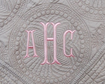 Gray Quilt - New Baby Gift - Monogram Quilt - 36 x 46 Inches - Gray Baby Blanket - Personalized Baby Quilt - Baptism Gift