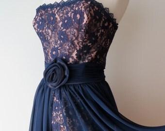"Vintage 1950's Style/Navy Blue Lace Strapless Bustier Dress Medium/50's Blue Strapless Evening Dress/Chiffon Skirt/28"" Waist/Ricki Lang"