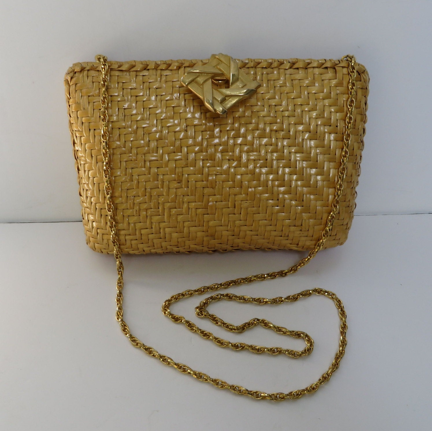 Vintage 1980 S Rodo Natural Wicker Purse With Gold Chain