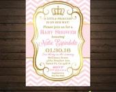 Princess Baby Shower Invitations, Printable File, Girl Shower Invitation, Pink Chevron, Pink and Gold, Elegant Baby Shower, Crown Invitation
