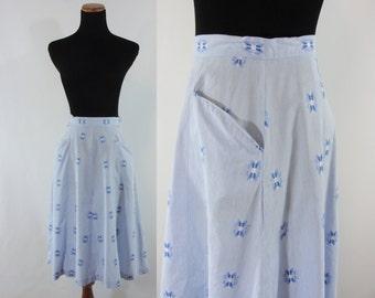 Vintage Fifties Skirt - 1950s Blue Cotton Skirt - 50s A-Line Skirt - XS / Small Embroidered Cotton Skirt