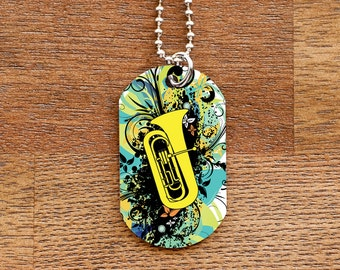 Tuba Dog Tag Necklace for Band Geeks