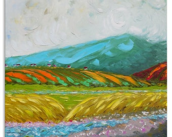 Mtirala mountain - art river valley relax yellow wall decor home field hanging green village canvas original painting landscape impasto oil