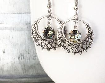 Ethnic Earrings - Gypsy Earrings - Everyday Earrings - Small Hoop Earrings - Glittering Earrings - Every Day Earrings - Silver Earrings