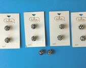 Black Rhinestone Studded Ball Shaped Shank 1/2 Inch Carded Buttons N0007