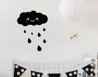Happy Rainy Cloud - Cute Baby Nursery Wall Decal / Wall Decor - WAL-2350