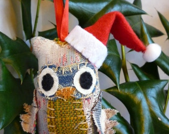 Assorted Owl Christmas Ornaments - 3 Inch Tall Plush Owl Ornament Made From Re-Purposed and Salvaged Fabrics