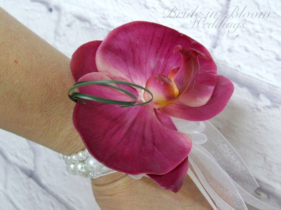 Wedding corsage Fuchsia pink orchid wrist corsage white pearl bracelet wedding accessories