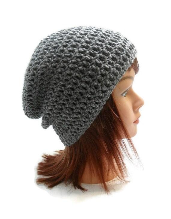 Grey Hat, Grey Slouchy Hat, Crochet Slouchy Hat, Hipster Beanie, Gray Slouchy Beanie, Heather Grey Hat, Unisex Slouchy Hat, Slouchy Beanie