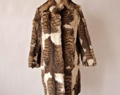 60's Vintage Rock Star Fur Coat Mix White and Striped Bobcat Czech Full Length Coat size M