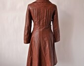 Warm Brown Leather Pam Greer Trench Coat 1970's-size Small