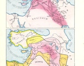 The Assyrian Empire. Ancient Mesopotamia. Egypt in ancient times. - Vintage retro MAP from 1972, Spain
