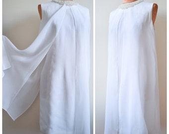 1960s White chiffon & pearl bead angel cocktail dress / 60s wedding dress - M L